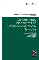 Contemporary Perspectives on Organizational Social Networks [electronic resource]
